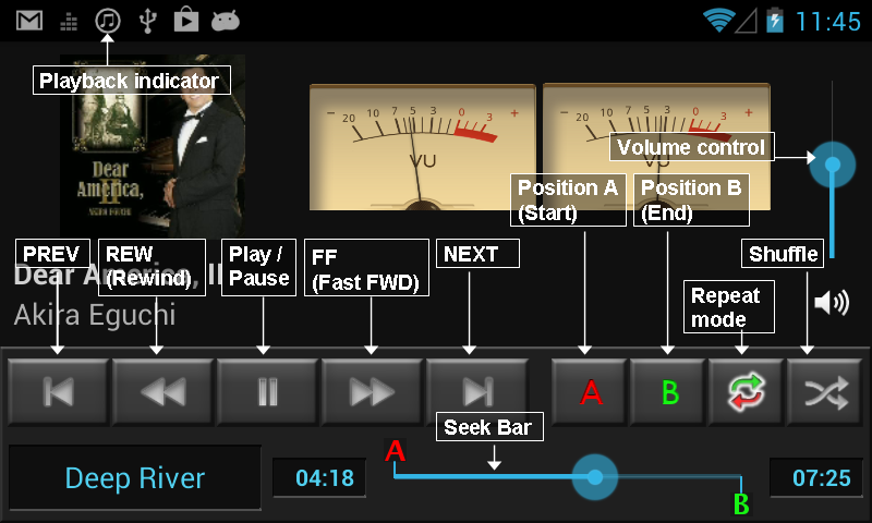 Playback control panel